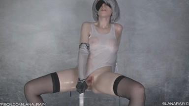 Lana Rain - Oiled Up 2B With Transparent Dildo