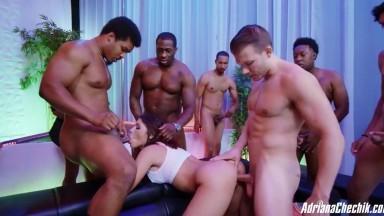Adriana Chechik - New Gang Bang Scene !! - 9 Dicks vs 1 Filthy Bratnasty Slut